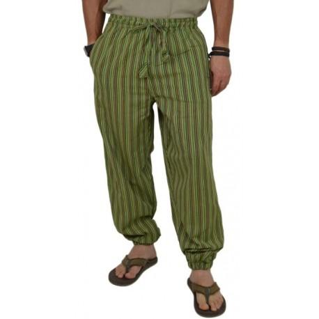 Pantalón de Rayas hippie para hombre verano Verde
