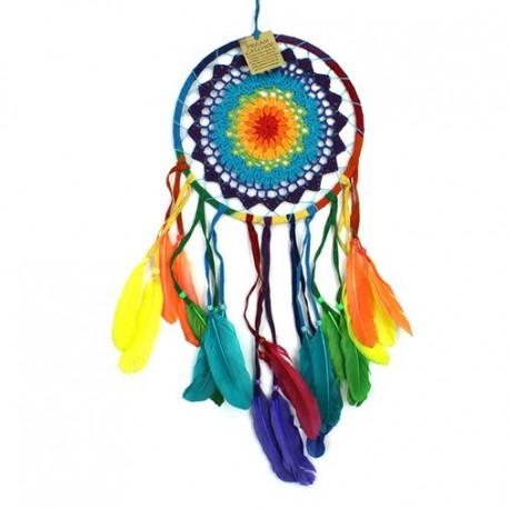 Atrapa Sueños Crochet arcoiris