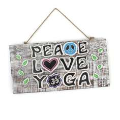 Placa de madera Paz, Amor & Yoga
