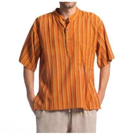 Camisas hippie rayas hombre de algodón