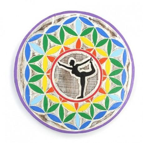 Placa de madera flor de la vida y Yoga