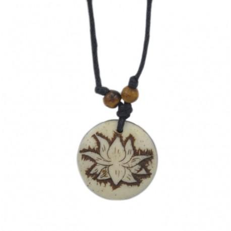 Colgante tibetano de hueso flor de loto