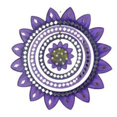 Móvil madera y espejos girasol violeta 27 cm Ø