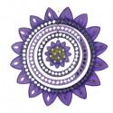 Móvil madera y espejos girasol violeta