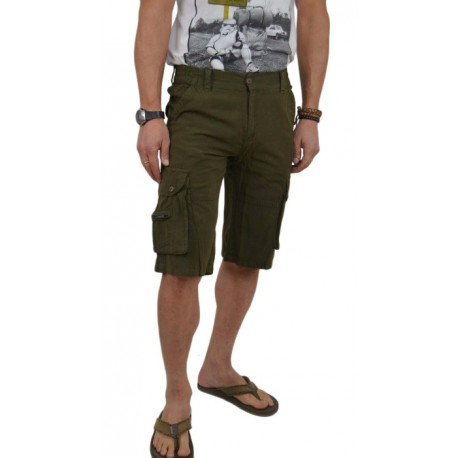 Pantalón bermuda caqui de algodón para hombre