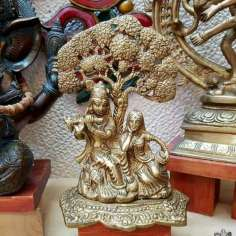 Krishna y Radha en bronce