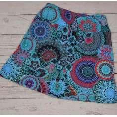 Falda corta invierno estampado mandalas azul