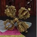 Doble dorje Tibetano de bronce 13,5 cm x 13,5 cm