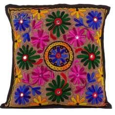Funda de Cojín bordada Flores étnicas