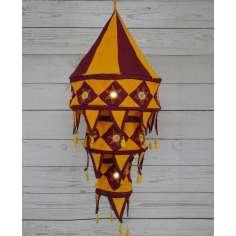 Lámparas artesanales de tela en burdeos y mostaza