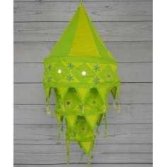 Lamparas artesanales de tela amarilla y verde lima