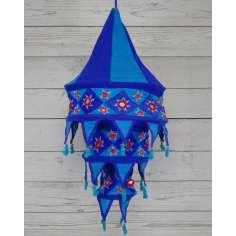 Lámpara de tela artesasal en Azul y Tuquesa