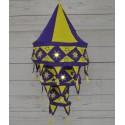 Lamparas de tela artesanal en Amrillo y violeta