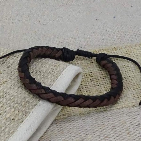 Pulsera de cuero trenzado negro y marrón