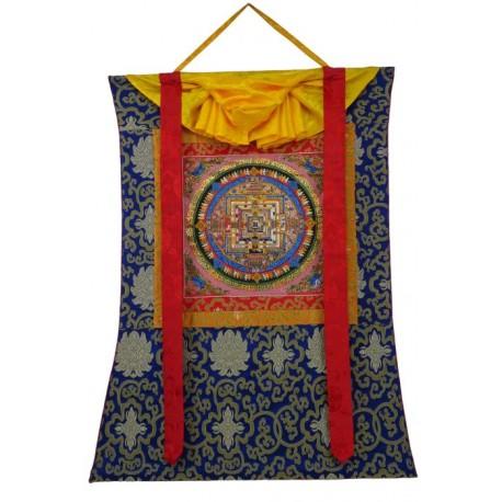 Thangka con mandala pintado a mano con Brocado TK18