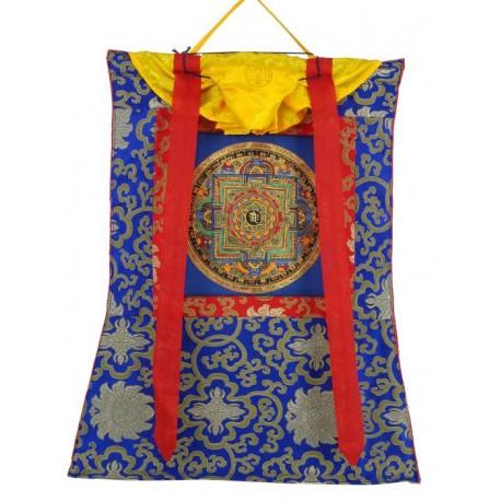 Thangka tibetano con Mandala con Brocado TK22