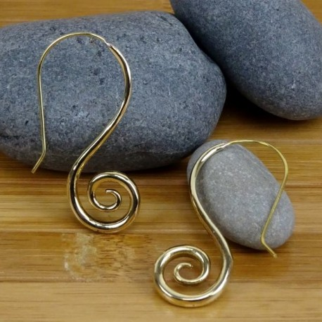 Pendientes hippies espiral largo