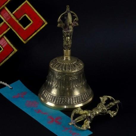 Campana tiibetana de bronce 16 cm