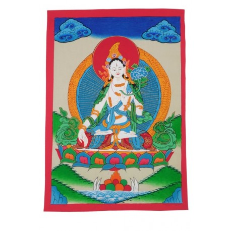 Thangka Tibetano con Tara Blanca