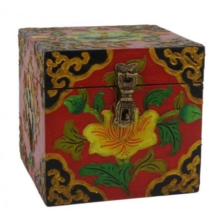 Caja de madera Tibetana 12,5 x12,5 x 12 cm