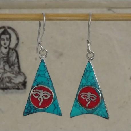 Pendientes tibetanos símbolos budistas