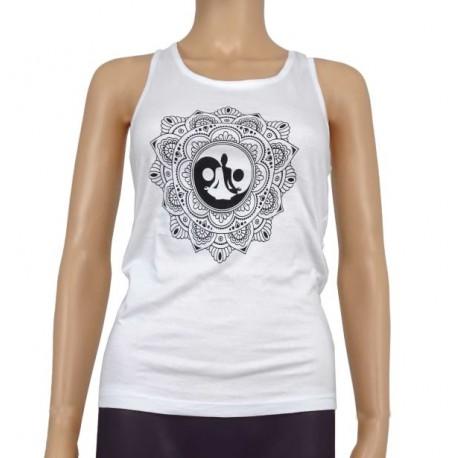 Camiseta mandala Yoga blanca de tirantes