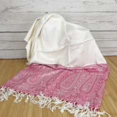 Pañuelo de India Rosa y crema