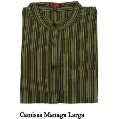 Camisa hippie de rayas verde manga larga