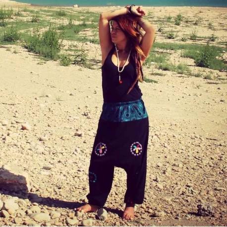 Pantalón hippie afgano negro con bordados