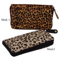Cartera de piel animal print 19 cm x 12 cm