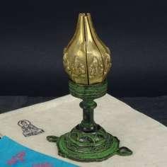 Porta vela flor de Loto de bronce 16 cm