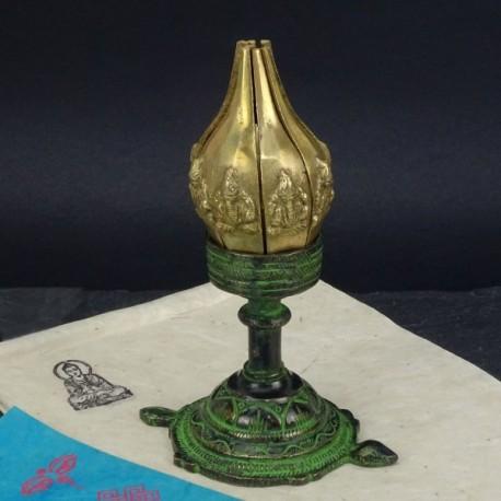 Porta vela flor de Loto de bronce
