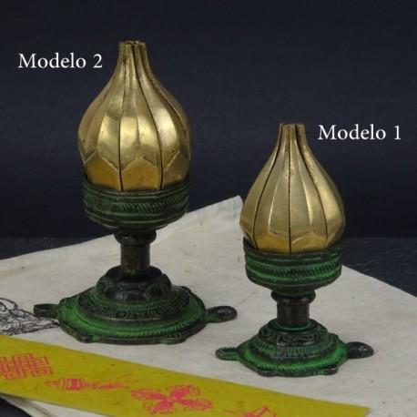 Portavelas flor de loto bronce