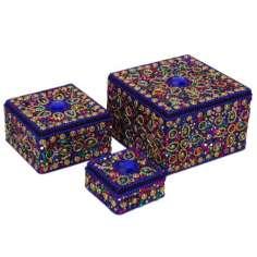 Cajas indias cuadradas de tres tamaños