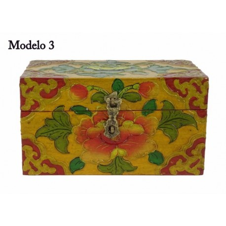 Caja Tibetana pintada símbolos budistas 15 x 9 x 9 cm