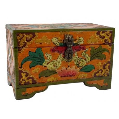 Caja de Madera Tibetana símbolos budistas