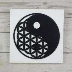 Ying Yang /Flor de la vida de madera 29 x 29 cm
