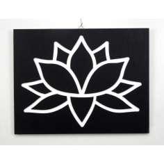 Cuadro flor de loto de madera 45 x 35 cm