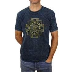 Camiseta Sri Yantra Unisex Azul Lavado
