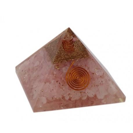 Piramide orgonita con cuarzo rosa 7 x 7 cm