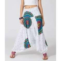 Pantalón Bombacho blanco con mandalas
