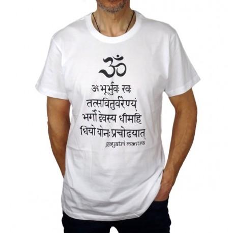 Camiseta Gayatri Mantra Unisex Blanca-Yoga