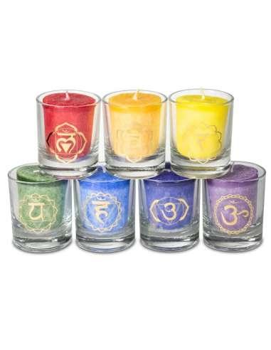 Set de 7 Velas Perfumadas Chakras, comercio justo