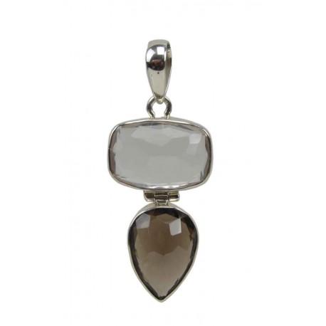 Colgante de plata con Cuarzo Ahumado CF01