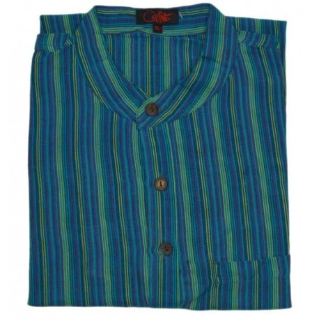 Camisas de rayas hippies manga corta para hombre talla XL