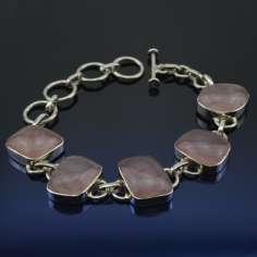 Pulsera de plata con Cuarzo Rosa