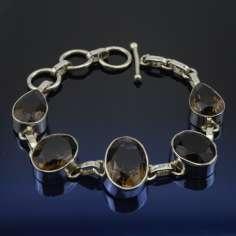 Pulsera de plata con cuarzo Ahumado